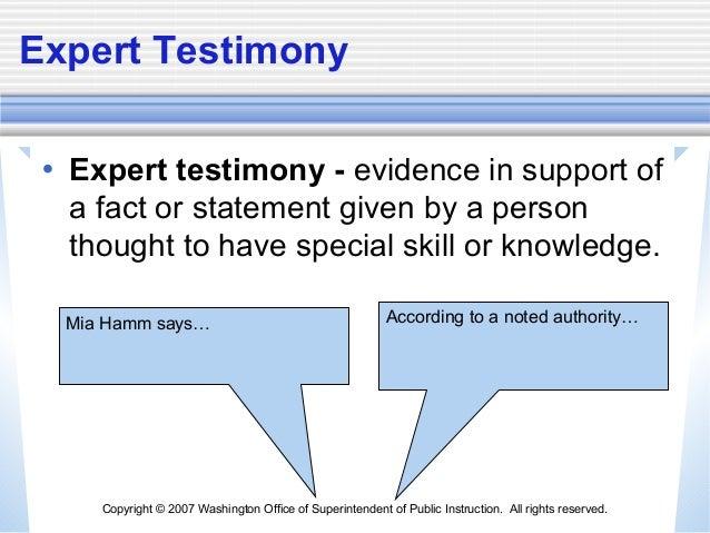 expert testimony example