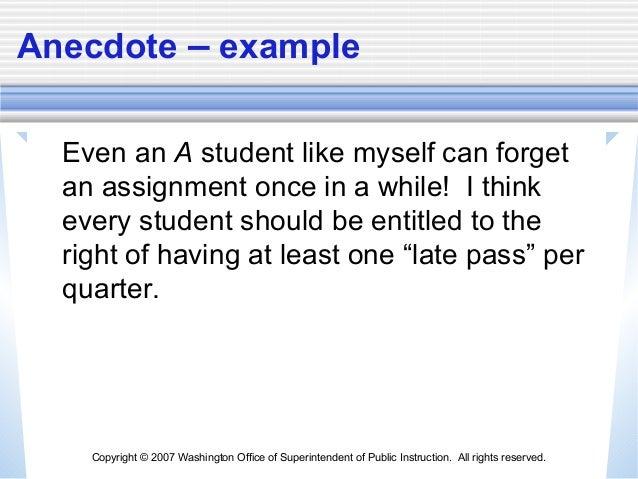 Anecdote Essay Examples