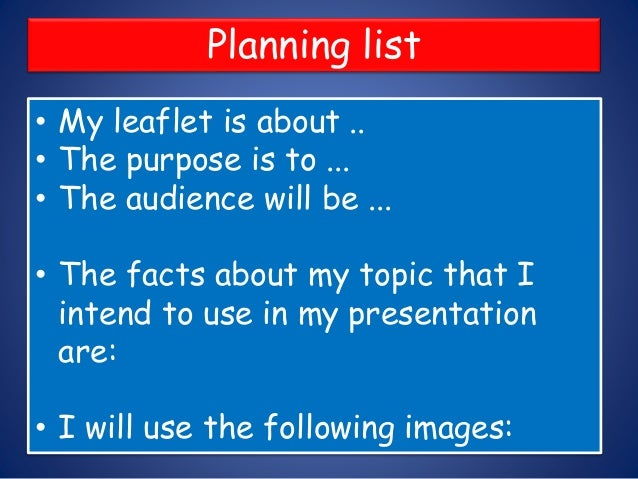 write a leaflet to persuade