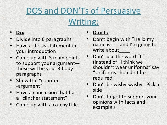 Some Dos and Don'ts of Writing a College Essay