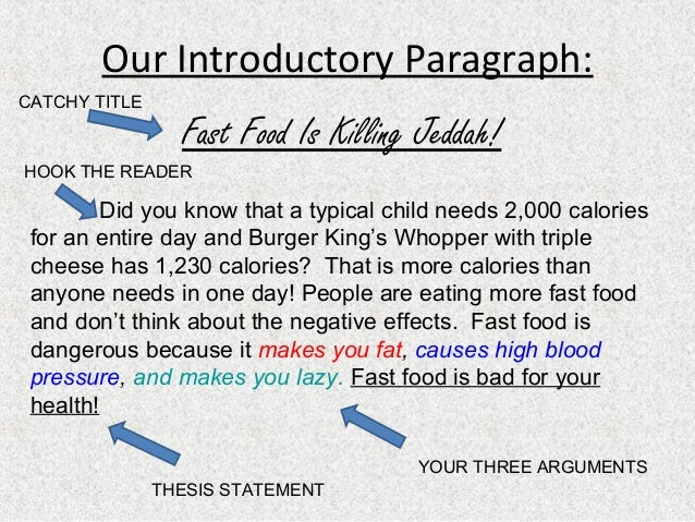 paragraph about fast food
