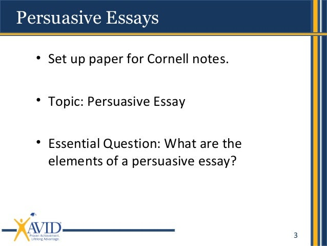 essential elements of a persuasive essay Techniques and strategies for writing persuasive or argumentative essays elements toward building a good persuasive essay include elements of a research paper.