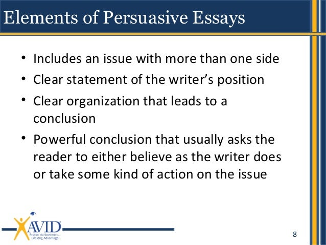 what are some elements of persuasive essays Did your teacher forget to give a great topic idea when assigning your argumentative paper don't worry – pick one from 103 interesting persuasive essay topics.
