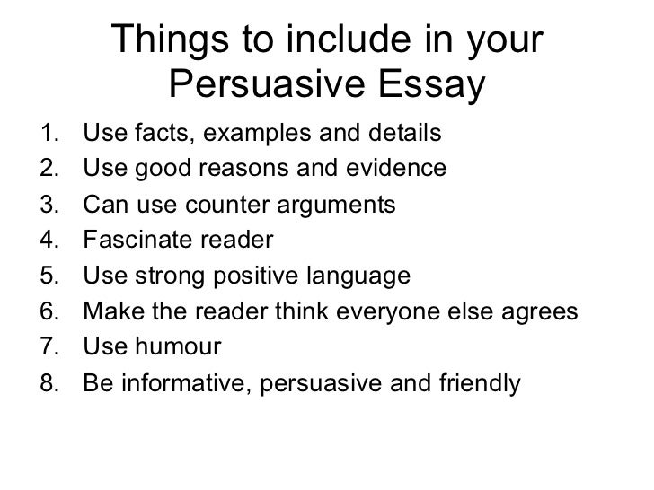 Things to write persuasive essays on