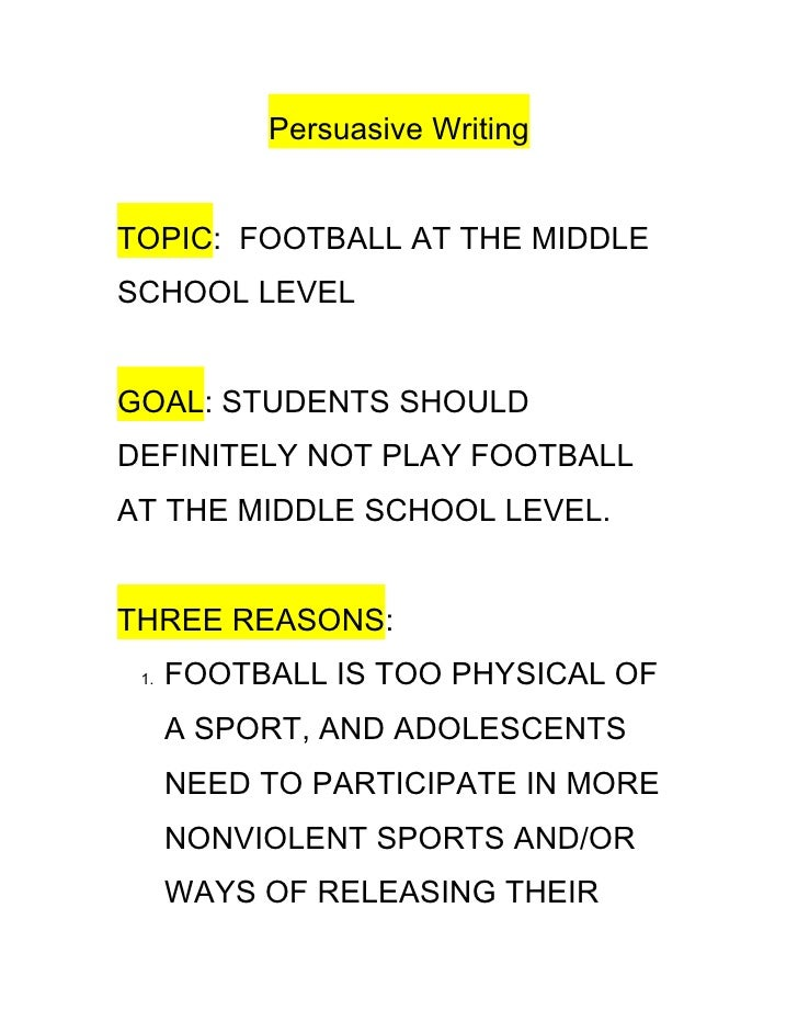 persuasive writing outline persuasive writing topic football at the middle school level goal students should definitely not
