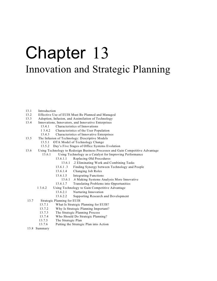 Chapter 13 Innovation and Strategic Planning   13.1    Introduction 13.2    Effective Use of EUIS Must Be Planned and Mana...