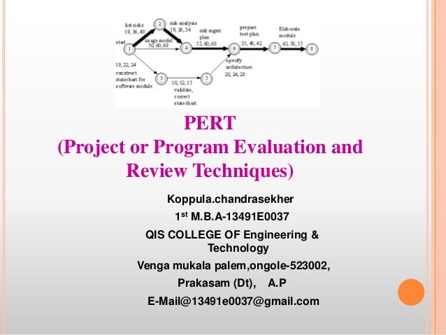 PERT (Project or Program Evaluation and Review Techniques) Koppula.chandrasekher 1st M.B.A-13491E0037 QIS COLLEGE OF Engin...