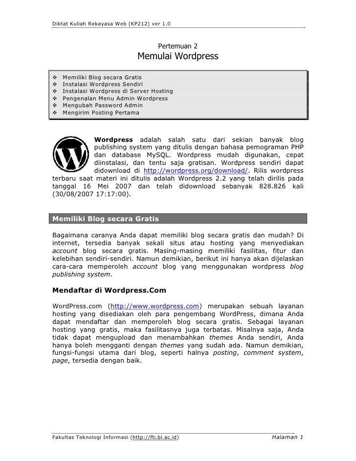 Diktat Kuliah Rekayasa Web (KP212) ver 1.0                                             Pertemuan 2                        ...