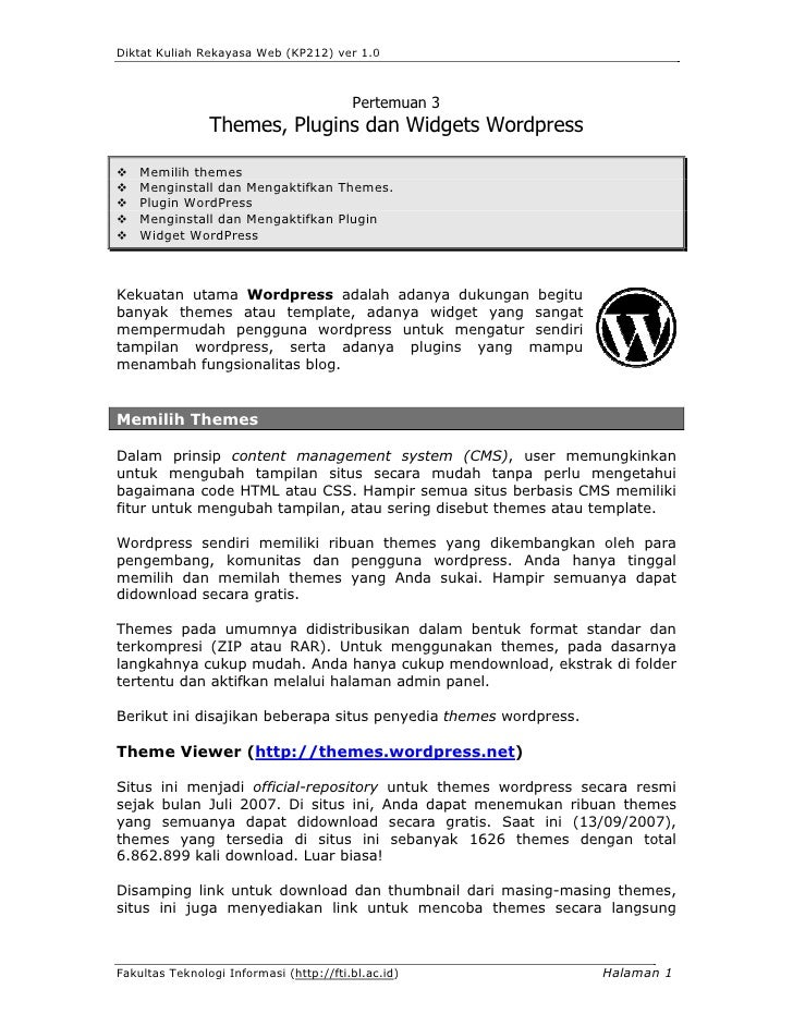 Diktat Kuliah Rekayasa Web (KP212) ver 1.0                                             Pertemuan 3                 Themes,...