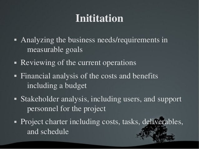 Inititation  Analyzingthebusinessneeds/requirementsin measurablegoals  Reviewingofthecurrentoperations  Fi...
