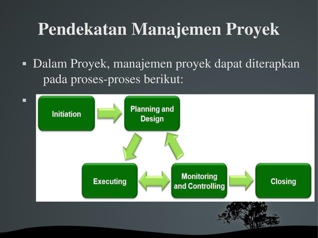 PendekatanManajemenProyek  DalamProyek,manajemenproyekdapatditerapkan padaprosesprosesberikut: 