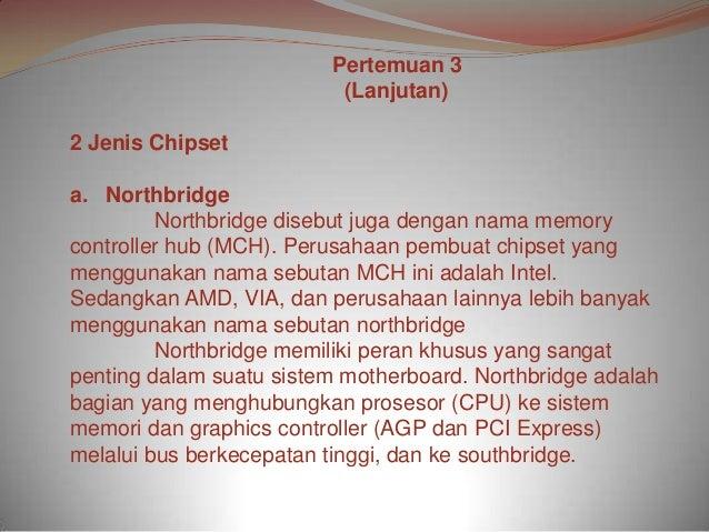Pertemuan 3                          (Lanjutan)2 Jenis Chipseta. Northbridge         Northbridge disebut juga dengan nama ...