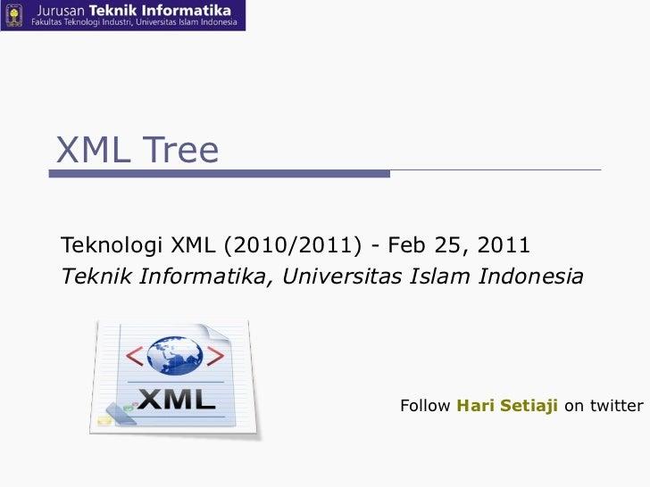 XML Tree Teknologi XML (2010/2011) - Feb 25, 2011  Teknik Informatika, Universitas Islam Indonesia Follow  Hari Setiaji  o...