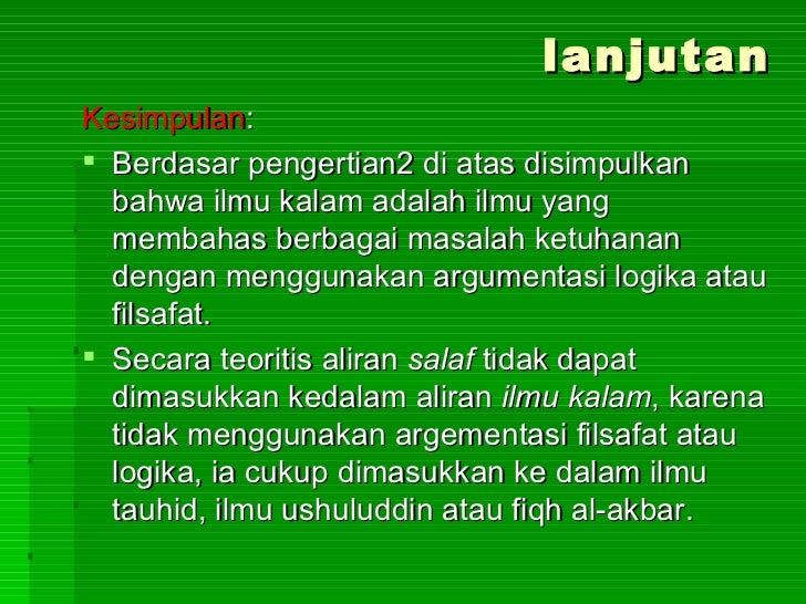 Jelaskan Alasan Munculnya Aliran Aliran Dalam Ilmu Kalam ...