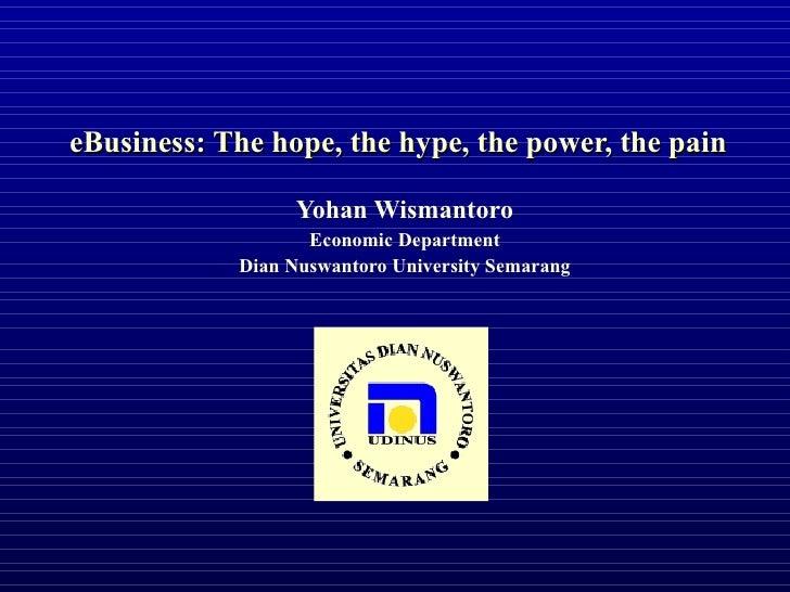 eBusiness: The hope, the hype, the power, the pain Yohan Wismantoro Economic Department Dian Nuswantoro University Semarang