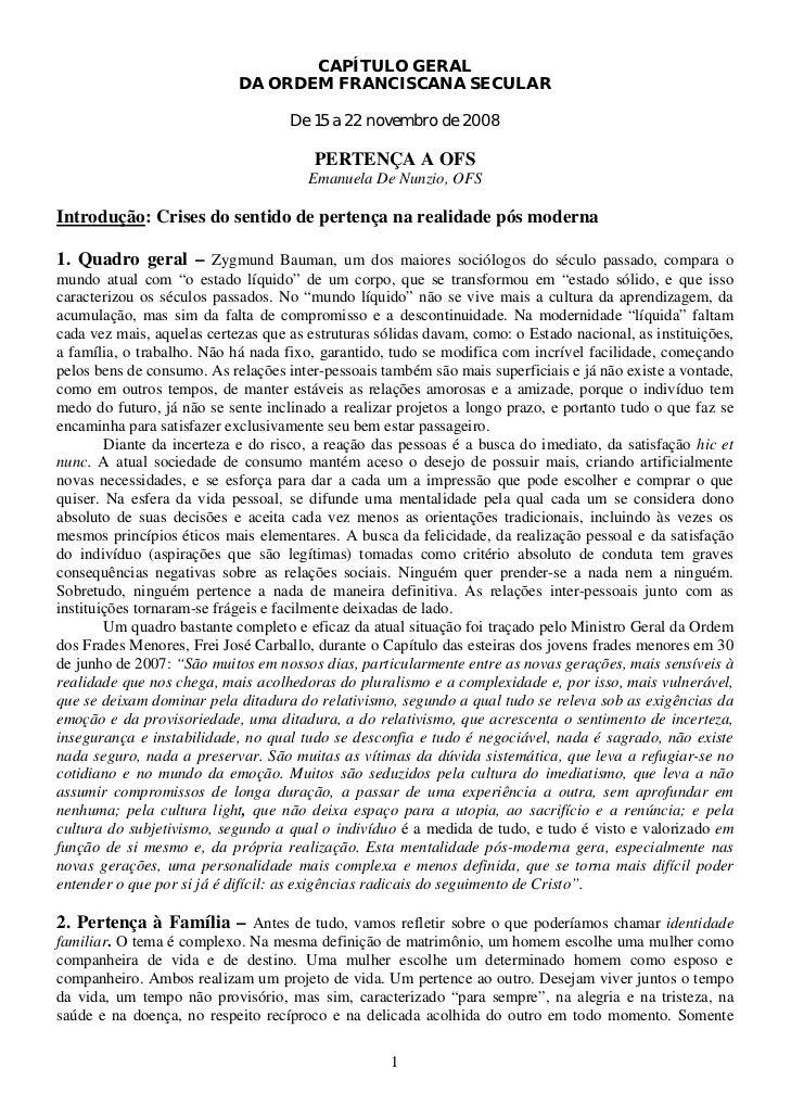 CAPÍTULO GERAL                            DA ORDEM FRANCISCANA SECULAR                                    De 15 a 22 novem...