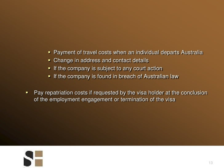 13<br />Payment of travel costs when an individual departs Australia<br />Change in address and contact details<br />If th...