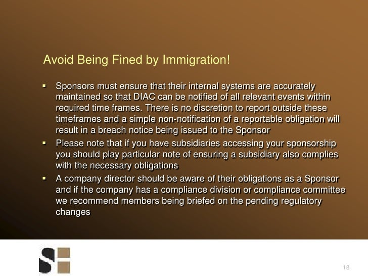 Avoid Being Fined by Immigration!<br />Sponsors must ensure that their internal systems are accurately maintained so that ...