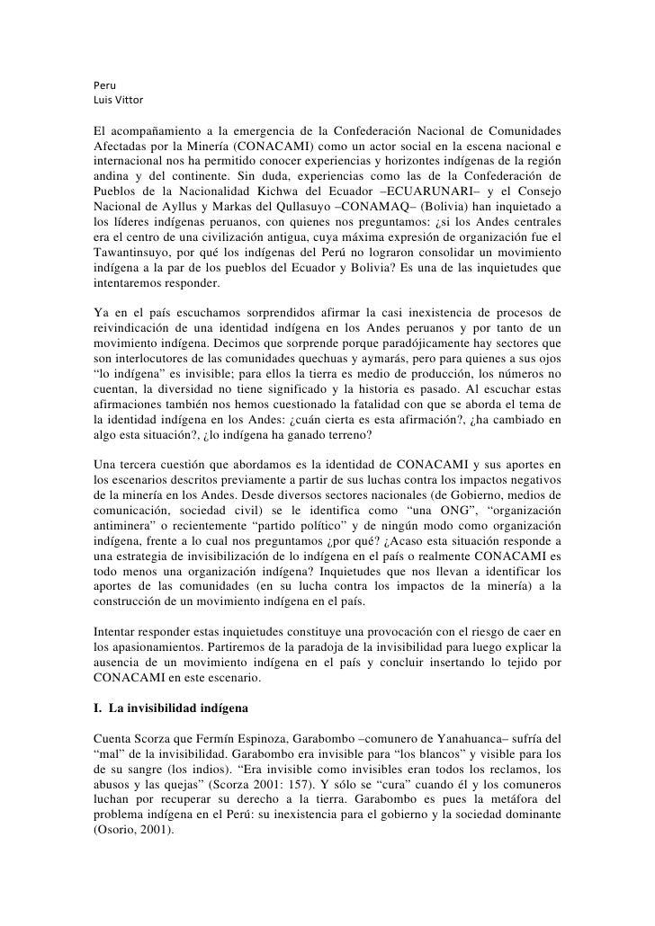 Peru LuisVittor  El acompañamiento a la emergencia de la Confederación Nacional de Comunidades Afectadas por la Minería...