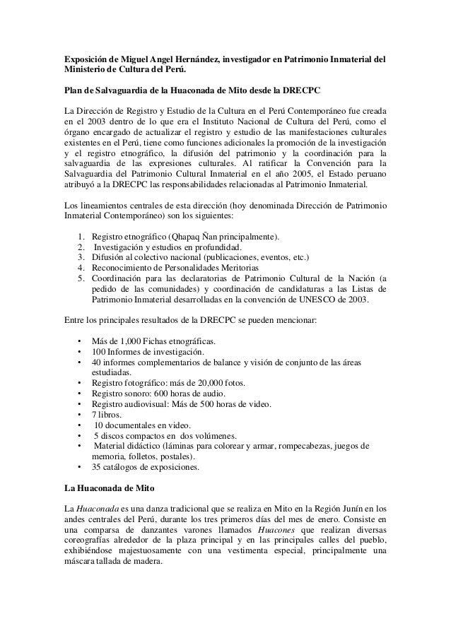 Exposición de Miguel Angel Hernández, investigador en Patrimonio Inmaterial del Ministerio de Cultura del Perú. Plan de Sa...