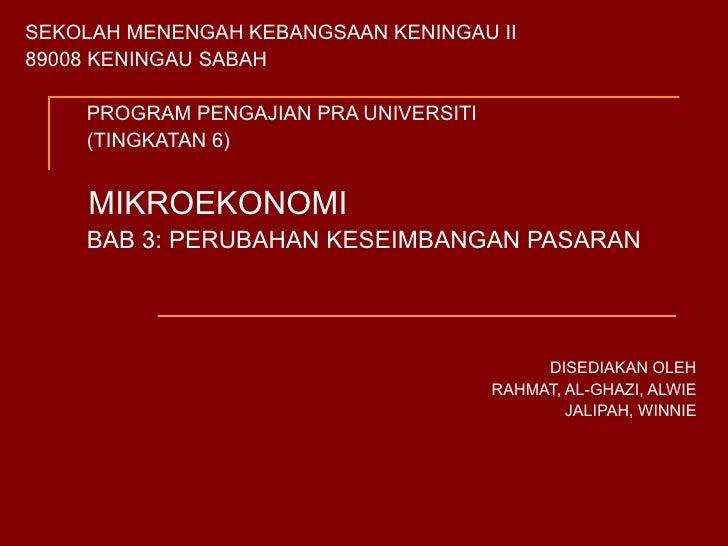 SEKOLAH MENENGAH KEBANGSAAN KENINGAU II 89008 KENINGAU SABAH PROGRAM PENGAJIAN PRA UNIVERSITI (TINGKATAN 6) MIKROEKONOMI B...