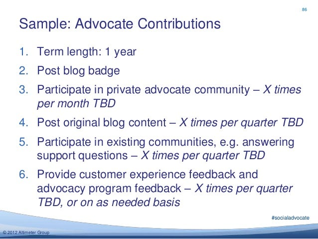 86       Sample: Advocate Contributions       1. Term length: 1 year       2. Post blog badge       3. Participate in priv...