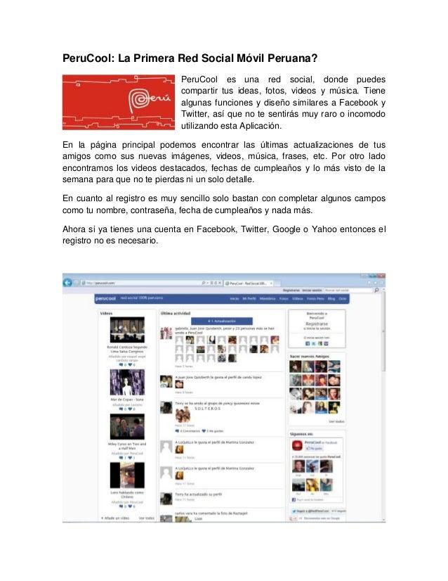 PeruCool: La Primera Red Social Móvil Peruana?                            PeruCool es una red social, donde puedes        ...