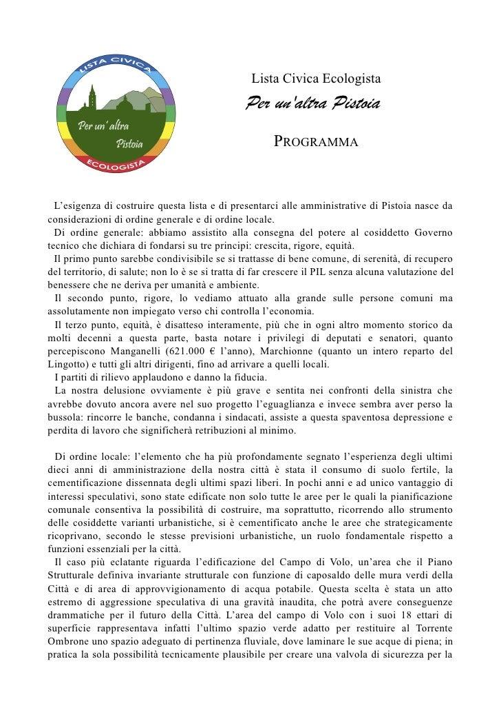 Lista Civica Ecologista                                                Per unaltra Pistoia                                ...