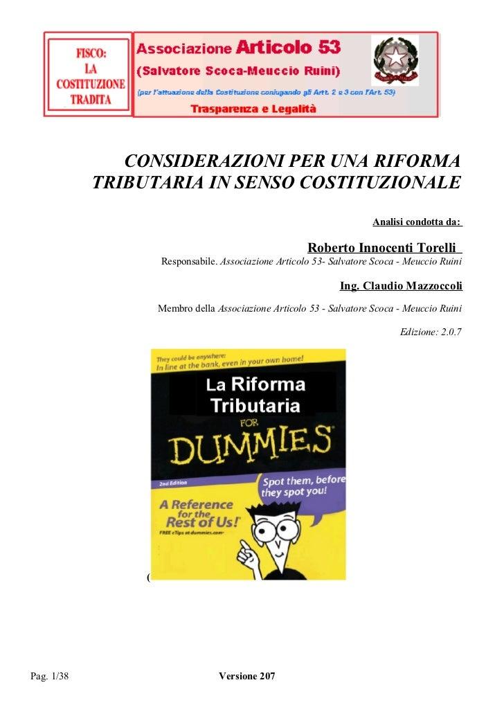 CONSIDERAZIONI PER UNA RIFORMA            TRIBUTARIA IN SENSO COSTITUZIONALE                                              ...