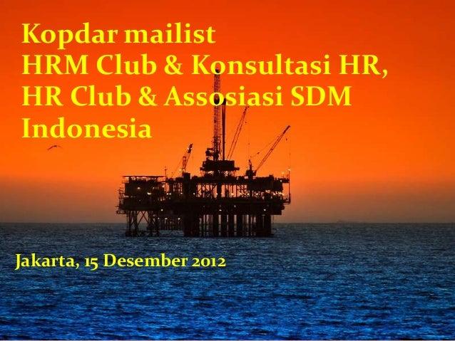 Kopdar mailist HRM Club & Konsultasi HR, HR Club & Assosiasi SDM Indonesia Jakarta, 15 Desember 2012