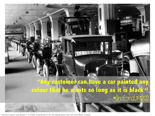 """""""Any customer can have a car painted any colour that he wants so long as it is black """" *(h.ford,1922) Remark  about  t..."""