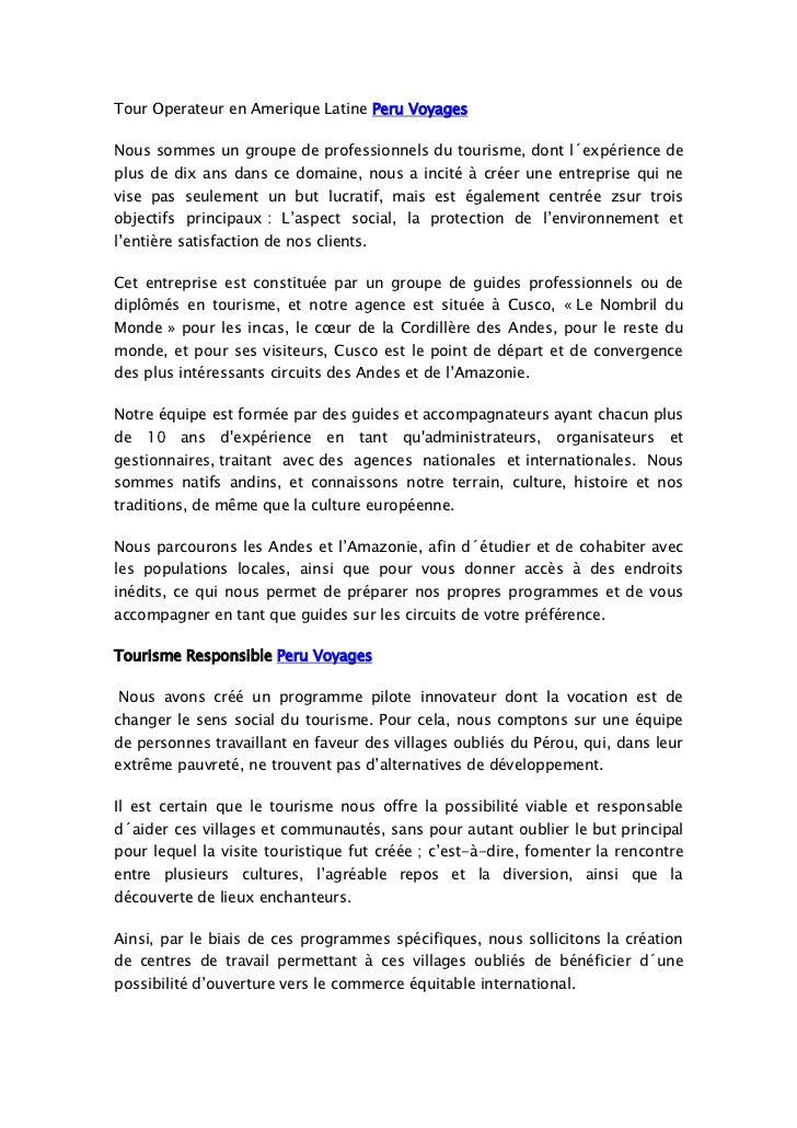 Tour Operateur en Amerique Latine Peru Voyages <br />Nous sommes un groupe de professionnels du tourisme,dont l´expérienc...