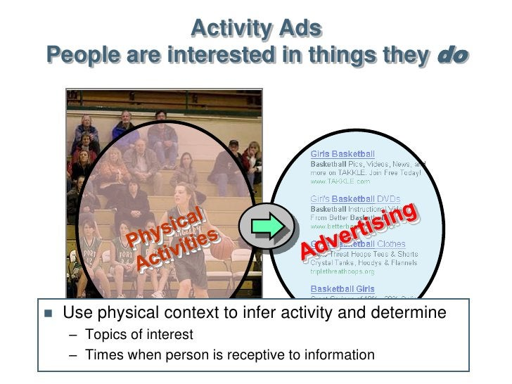 Activity Ads People are interested in things they do        Use physical context to infer activity and determine     – To...