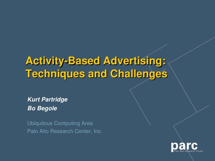Activity-Based Advertising: Techniques and Challenges  Kurt Partridge Bo Begole  Ubiquitous Computing Area Palo Alto Resea...