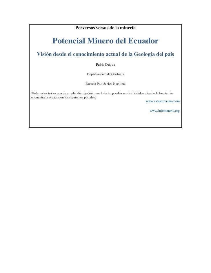 Perversos versos de la minería              Potencial Minero del Ecuador   Visión desde el conocimiento actual de la Geolo...