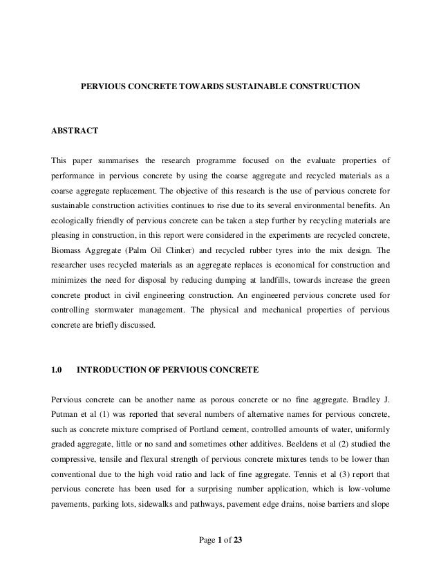 thesis on pervious concrete