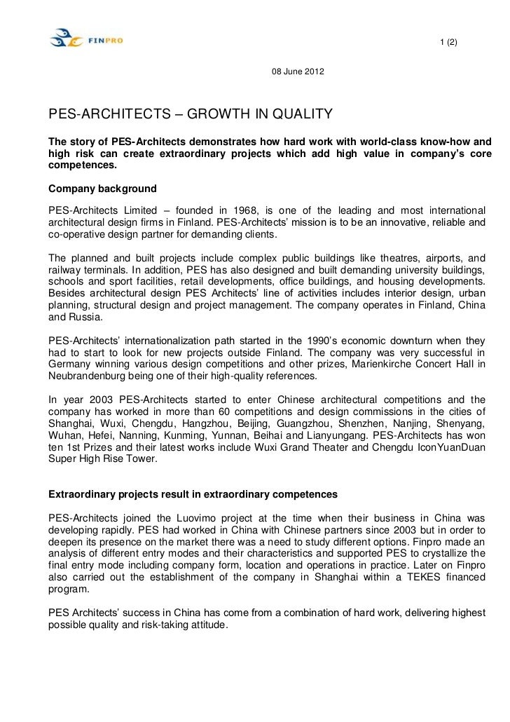 1 (2)                                                  08 June 2012PES-ARCHITECTS – GROWTH IN QUALITYThe story of PES-Arch...