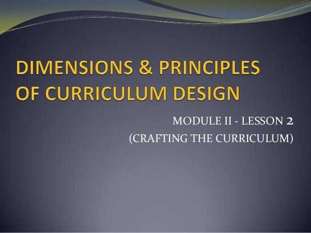 MODULE II - LESSON 2(CRAFTING THE CURRICULUM)