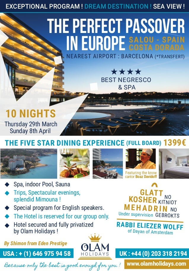 Pesach Europe Hotels Passover 2018