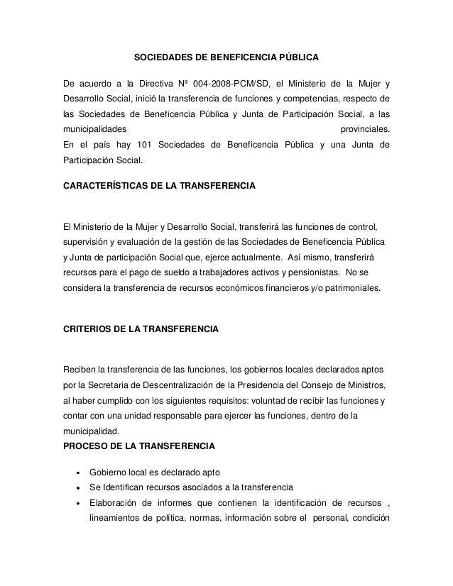 SOCIEDADES DE BENEFICENCIA PÚBLICADe acuerdo a la Directiva Nº 004-2008-PCM/SD, el Ministerio de la Mujer yDesarrollo Soci...