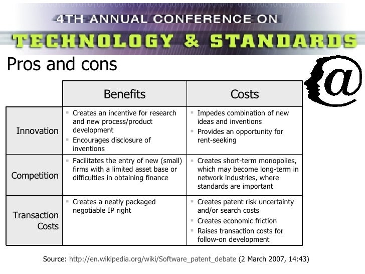 Pros and cons Source:  http://en.wikipedia.org/wiki/Software_patent_debate  (2 March 2007, 14:43) Benefits Costs Innovatio...