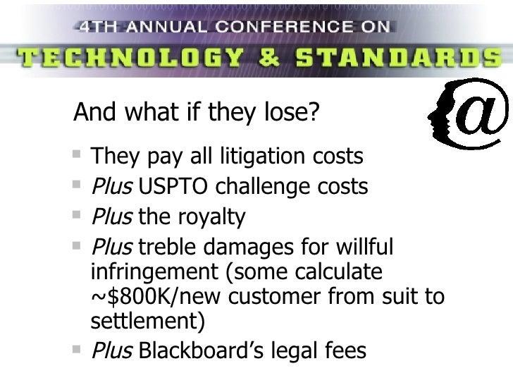 And what if they lose? <ul><li>They pay all litigation costs </li></ul><ul><li>Plus  USPTO challenge costs </li></ul><ul><...