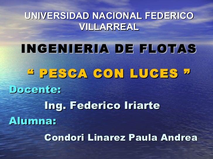"""Docente:   Ing. Federico Iriarte Alumna:    Condori Linarez Paula Andrea """"  PESCA CON LUCES """" UNIVERSIDAD NACIONAL FEDERIC..."""