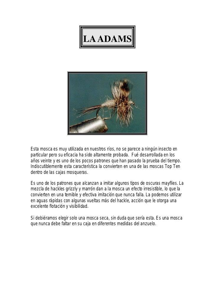 LA ADAMSEsta mosca es muy utilizada en nuestros ríos, no se parece a ningún insecto enparticular pero su eficacia ha sido ...