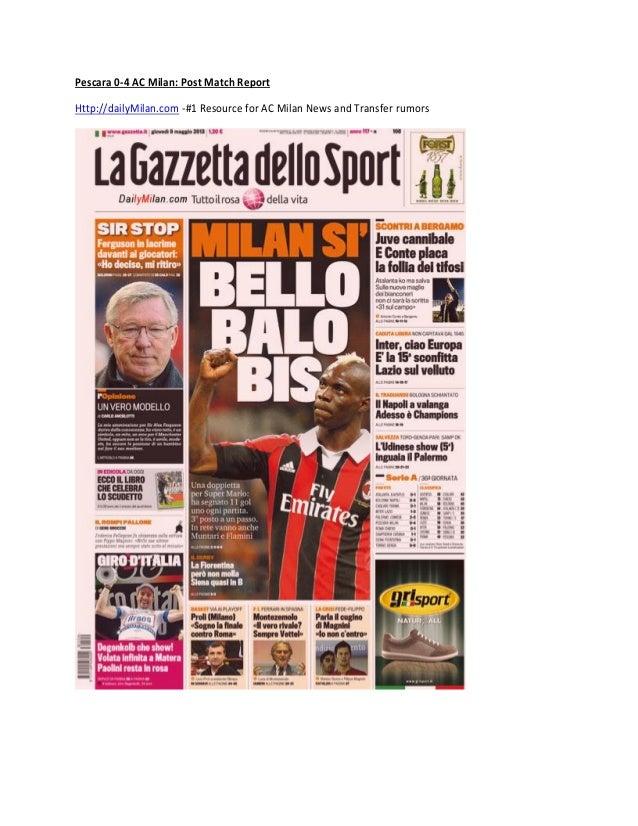 Pescara 0-4 AC Milan: Post Match ReportHttp://dailyMilan.com -#1 Resource for AC Milan News and Transfer rumors