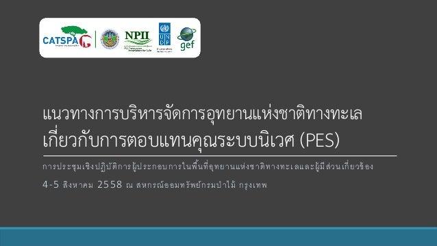 แนวทางการบริหารจัดการอุทยานแห่งชาติทางทะเล เกี่ยวกับการตอบแทนคุณระบบนิเวศ (PES) การประชุมเชิงปฏิบัติการผู้ประกอบการในพื้นท...
