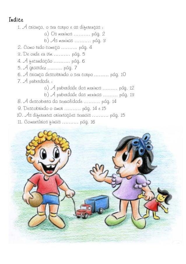 Indice  1. A criança, o seu corpo e as diferenças : a) Os meninos .......... pág. 2 b) As meninas .......... pág. 3 2. Com...