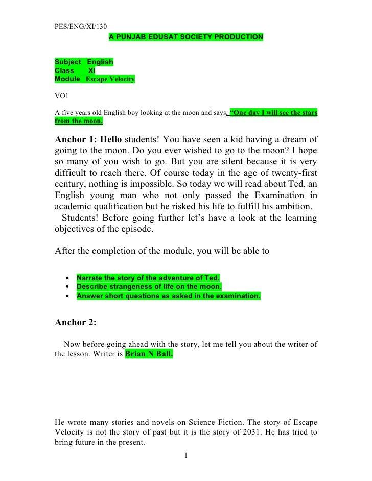 PES/ENG/XI/130                   A PUNJAB EDUSAT SOCIETY PRODUCTION   Subject English Class   XI Module Escape Velocity  V...