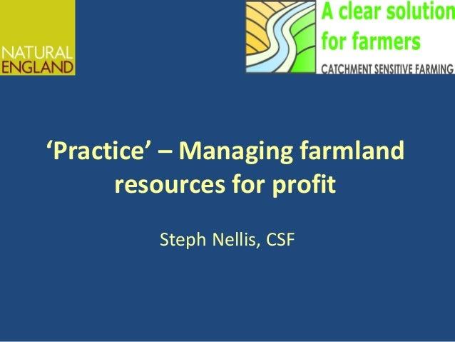 'Practice' – Managing farmland resources for profit Steph Nellis, CSF