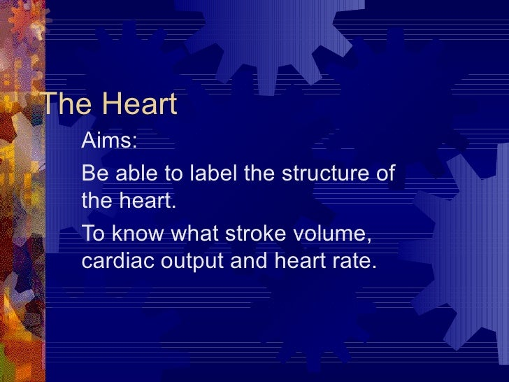 The Heart Aims: Be able to label the structure of the heart. To know what stroke volume, cardiac output and heart rate.